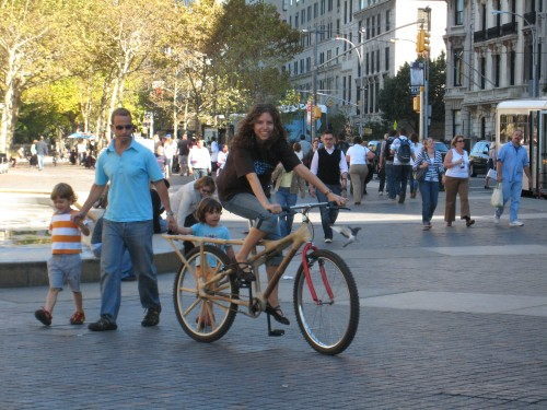 Marissa Wearing Shirt and Riding Bamboo Bike