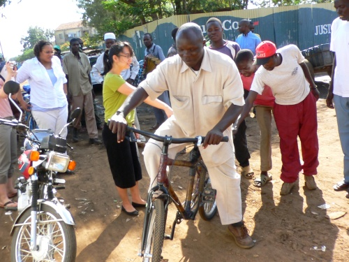 Nashan, head of Boda Boda Association, on a Bamboo Bike